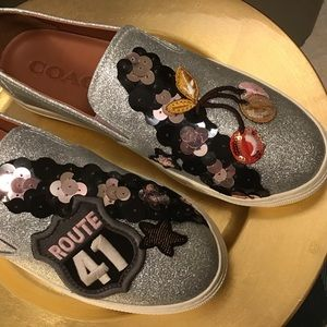 🤩Host Pick🤩 Coach Silver Sequined Slip On …